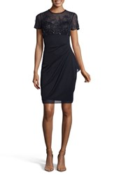 Xscape Evenings Beaded Bodice Ruched Sheath Dress Navy