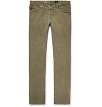 Ag Jeans Tellis Slim Fit Stretch Cotton Twill Trousers Army Green