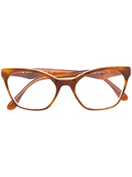 Prada Eyewear Cat Eye Acetate Glasses Acetate Brown