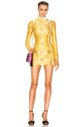 Alessandra Rich Flower Lace Mini Dress In Yellow Floral Metallics Yellow Floral Metallics
