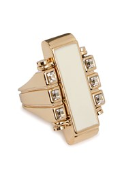 Lanvin Deco Gold Tone Ring Ivory