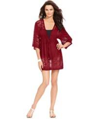 Dotti Laser Cutout V Neck Kimono Cover Up Women's Swimsuit Wine