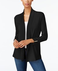 Jm Collection Petite Ruched Open Front Cardigan Created For Macy's Deep Black