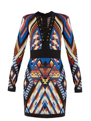 Balmain Geometric Pattern Knitted Dress Multi