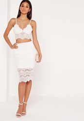 Missguided Lace Bodycon Pencil Skirt White White