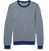 Incotex Houndstooth Jacquard Knit Cotton Sweater Blue