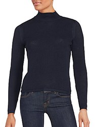 One A Honeycomb Mock Turtleneck Sweater Navy