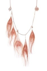 Betsey Johnson Pink Feather Long Necklace