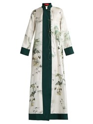 F.R.S For Restless Sleepers Euribia Japanese Print Silk Kimono Green White