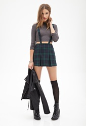 Forever 21 Pleated Plaid Suspender Dress Green Navy