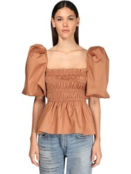 Johanna Ortiz Stretch Cotton Poplin Top W Puff Sleeve Light Brown