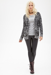 Forever 21 Marled Knit Zippered Cardigan