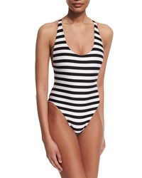 Proenza Schouler Striped Cross Back One Piece Swimsuit Black White