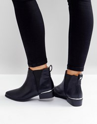 London Rebel Metal Insert Heel Low Heel Chelsea Boot Black Pu