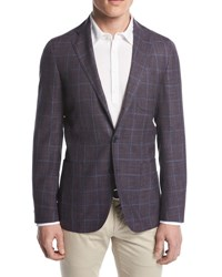 Loro Piana Andorra Windowpane Two Button Sport Coat Purple Pattern