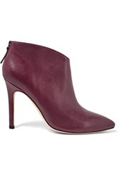 Halston Heritage Karen Leather Ankle Boots Burgundy