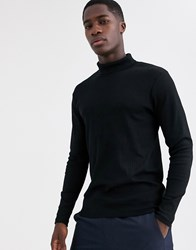 Jack And Jones Premium Fitted Ribbed Roll Neck Top In Black