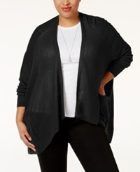 Love Scarlett Plus Size Pointelle Knit Cardigan Black