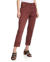 Brunello Cucinelli Frayed Cuff Cropped Jeans Red