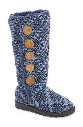 Women's Muk Luks 'Malena' Sweater Knit Boot Navy Fabric