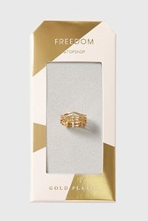 Topshop Gold Plated Cubic Zirconia Ring Clear