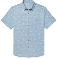 Faherty Pineapple Print Cotton Shirt Blue