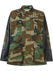 Forte Couture Embellished Camouflage Jacket Green