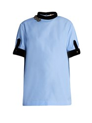 N 21 Embellished Velvet Trim Cotton Top Light Blue
