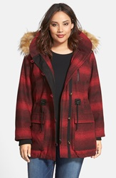Steve Madden 'Red Stripe' Hooded Duffle Coat With Faux Fur Trim Plus Size