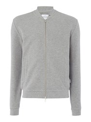 Peter Werth Men's Hustler Textured Jersey Zip Bomber Silver Marl