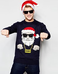 New Look Navy Christmas Jumper With Santa Design