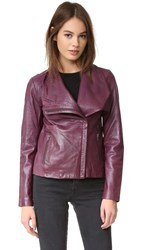 Bb Dakota Newell Washed Leather Jacket Boysenberry