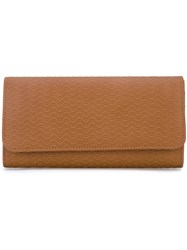 Zanellato Large Wave Embossed Wallet Women Calf Leather One Size Nude Neutrals