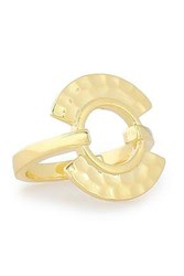 Noir Hammered Gold Tone Ring Gold