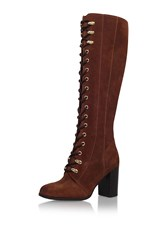 Wander Rust High Heel Lace Up Knee Boot By Carvela
