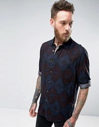 Asos Regular Fit Shirt With Aztec Print Navy