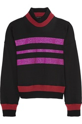 Jonathan Saunders Renee Glitter Finished Cotton Blend Jersey Sweatshirt Black