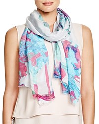 Fraas Painted Floral Scarf Turquoise