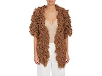 Ryan Roche Women's Furry Like Cashmere Open Front Cardigan Dark Brown