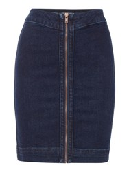 Label Lab Denim Skirt With Front Zip Detail Blue