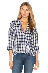 Maven West Surplice Button Up Top Blue