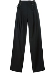 Anthony Vaccarello Elasticated Detailing Wide Legged Trousers Black