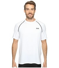 Tyr Short Sleeve Rashguard White Men's Swimwear