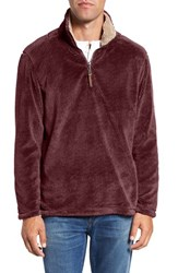 True Grit Men's Pebble Pile Quarter Zip Pullover Vintage Wine