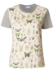 Red Valentino Bug Patch T Shirt Cotton Polyamide Grey