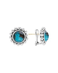 Lagos Sterling Silver Maya Escape Chrysocolla Doublet Round Omega Clip Earrings Blue Silver