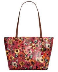 Sakroots Coated Canvas Tote Raspberry In Bloom Gold