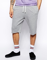 Asos Jersey Shorts In Longer Length Greymarl