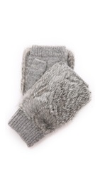 Adrienne Landau Knit Fingerless Fur Gloves Grey