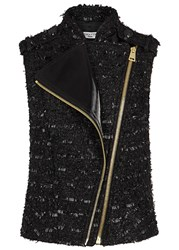 Lanvin Black Metallic Tweed Biker Gilet